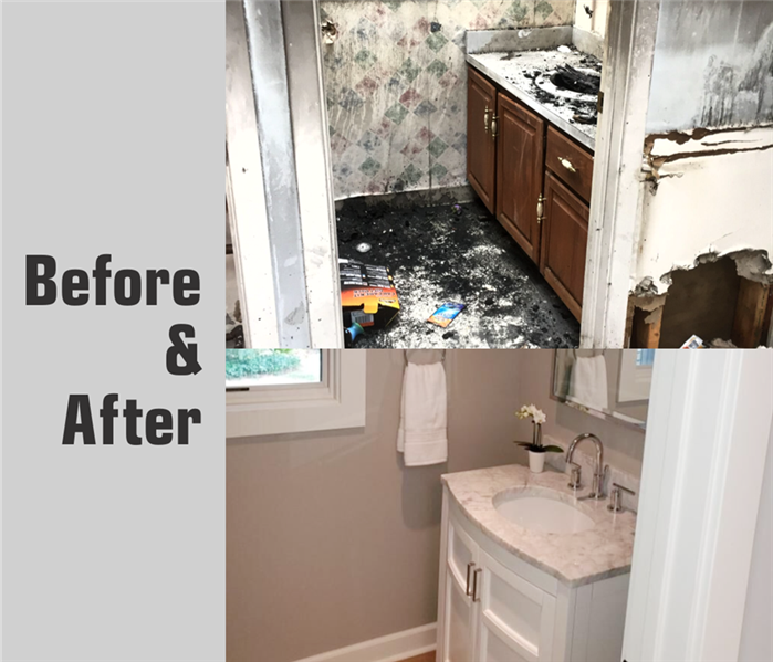 Bathroom rebuild in Parma, OH after fire damage